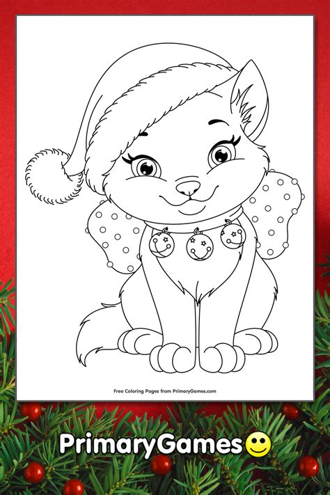 christmas kitten coloring page printable christmas coloring  primarygames