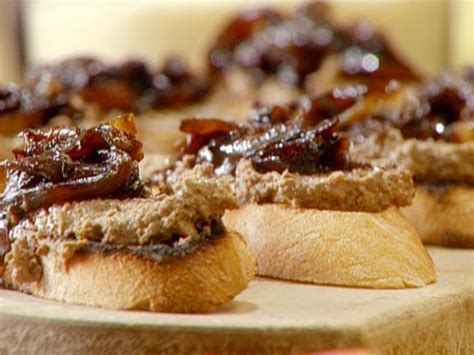 crostini of chicken liver pate with balsamic onions recipe burrell food network