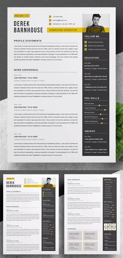 professional cv resume templates  cover letters