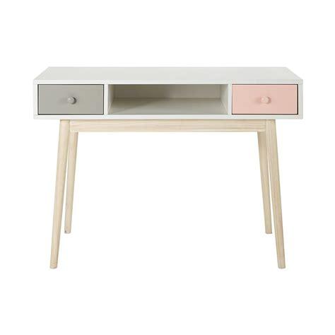 bureau en bois blanc   cm blush maisons du monde