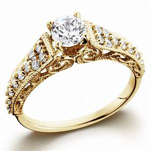 5 8ct vintage diamond engagement ring 14k yellow gold With vintage gold wedding ring