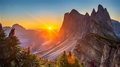 4k 5k Italy Dolomites Sunrise Nature 1366