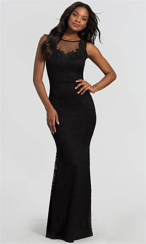 Image of illusion-neck long black lace wedding guest dress ...