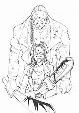 Jason Voorhees Horror Coloring Drawing Friday 13th Adult Vorhees Mask Freddy Scary Drawings Movies Crafts Sketch Chucky Getdrawings Monsters Beast sketch template