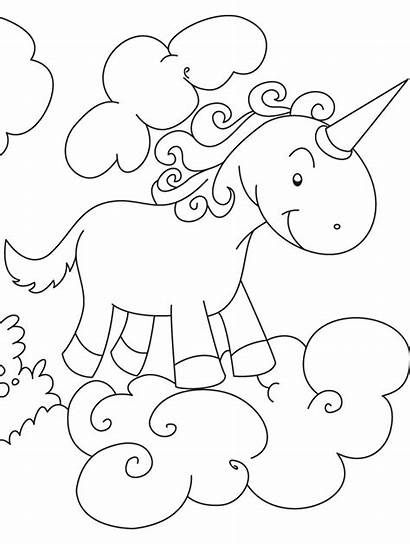 Unicorn Coloring Pages Flying Printable Clouds Above