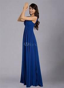 Robe Bleu Demoiselle D Honneur : bleu royal sangles robe de demoiselle d 39 honneur mousseline fronc e ~ Dallasstarsshop.com Idées de Décoration