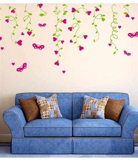sofa background multicolor room lovely living stickerskart wall sold 50x70 vines hearts stickers hanging cms india