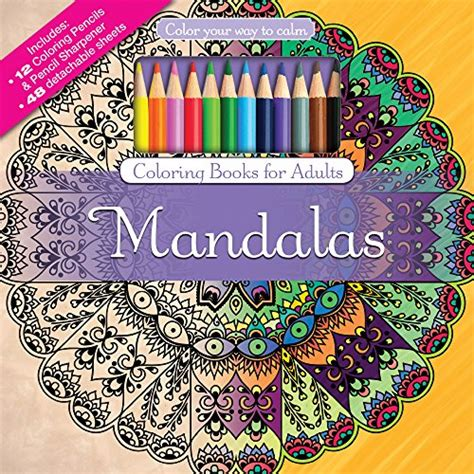 mandalas adult coloring book set with 24 colored pencils