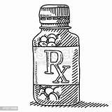 Pill Bottle Drawing Medicine Label Vector Rx Container Clip Empty Illustrations Istockphoto Cartoons sketch template