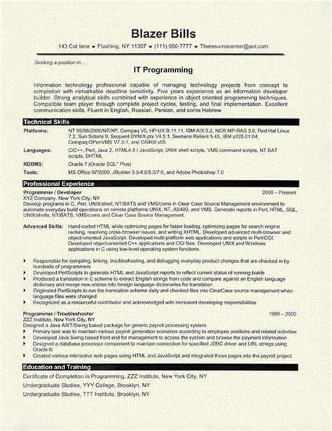 Programmers Resume by Computer Programmer Resume Exles Free Resume