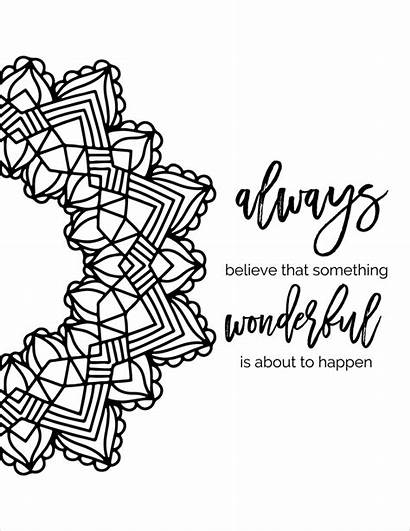 Coloring Pages Quote Printable Mandala Designs Quotes