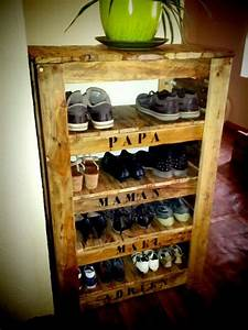 Meuble palette pour chaussure creation palette for Meuble a chaussure en bois de palette