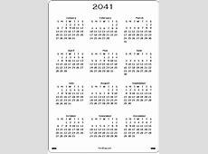 2041 Calendar