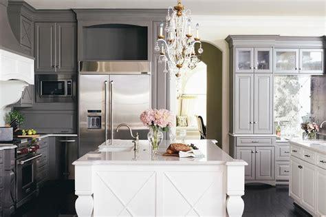 dark gray kitchen cabinets  white island