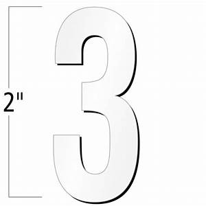 2 inch die cut magnetic number 3 white sku nl mg 2 wt 3 for White magnetic letters and numbers