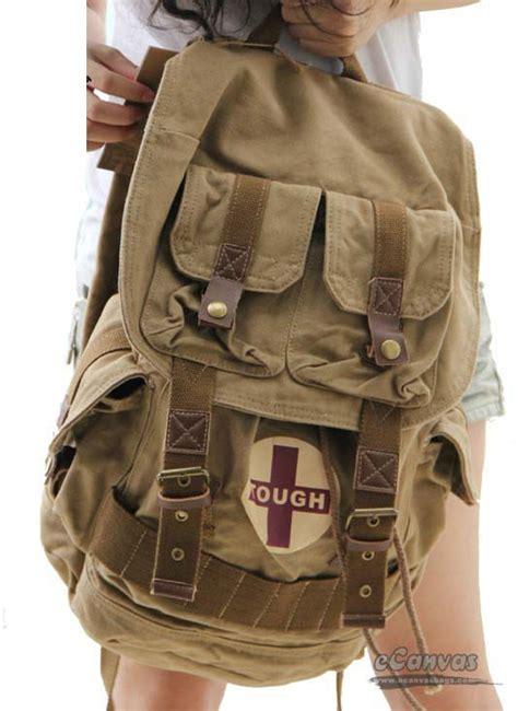 travel rucksack khaki unique backpack  canvasbags
