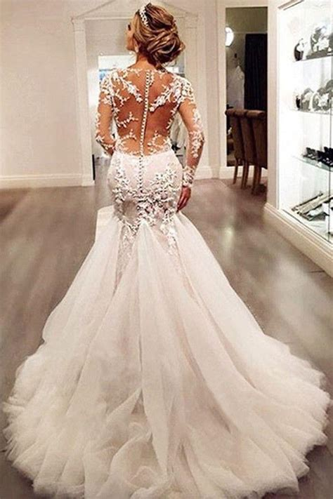 Long Sleeves Court Train Mermaid Wedding Dress With Lace Appliques WD037 #2621989   Weddbook