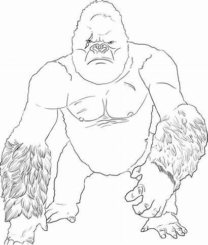 Kong King Coloring Colorear Dibujos Godzilla Vs