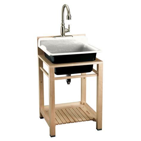 kohler utility sink stand shop kohler white cast iron laundry sink at lowes