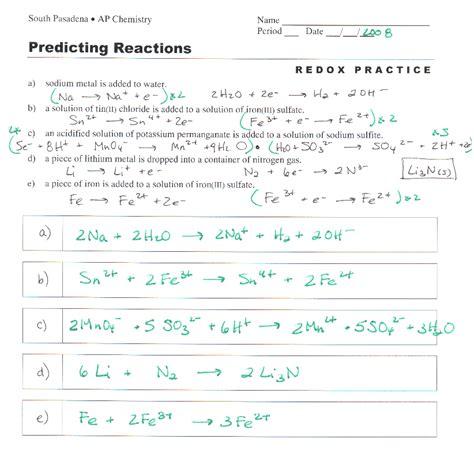 Worksheet Balancing Redox Reactions Half Equation Method Breadandhearth