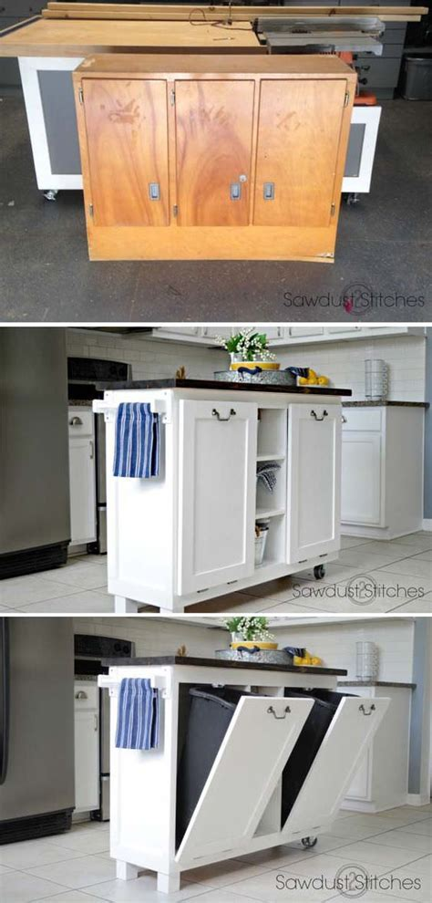 DIY Wood Tilt Out Trash Can Cabinet