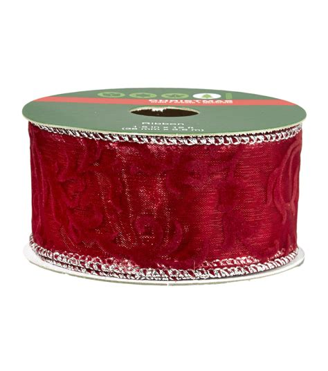 christmas ribbon 1 5 in x 12 ft wire edge red velour