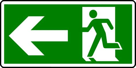 for floor emergency exit sign with left arrow safety signs