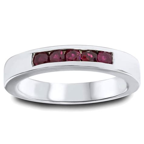 1 3ct ruby mens channel wedding ring 14k white gold
