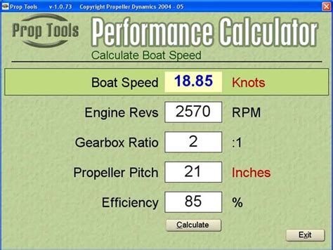 Boat Prop Pitch Vs Rpm by Performance Calculatior Software