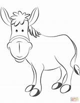 Coloring Donkey Cartoon Donkeys Pages Asino Printable Drawing sketch template