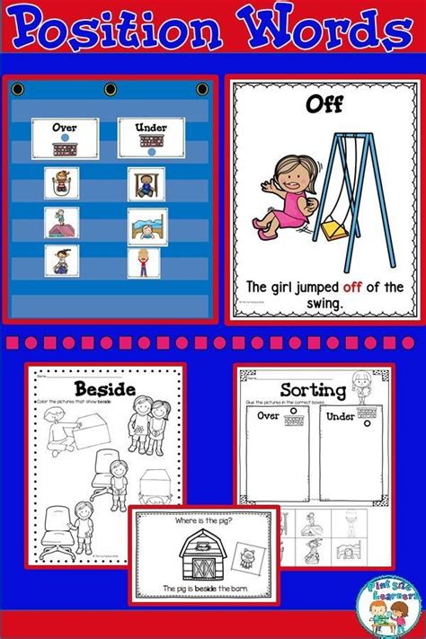 position words activities  worksheets math centers