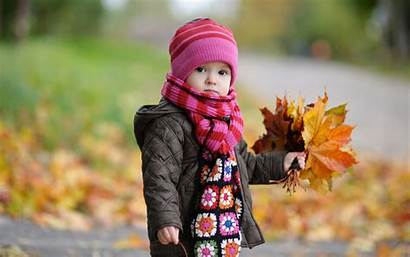 Autumn Leaves Babies Yellow Scarf Wallpapers Bright