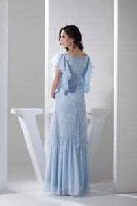 ruffled short sleeves ankle length prom homecoming dress