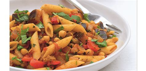 Main Dishes : Aubergine And Chickpea Penne