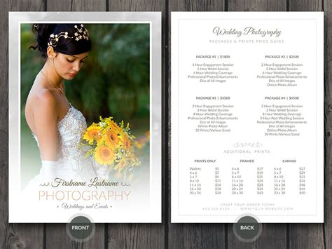 wedding photographer price guide card template  cursive