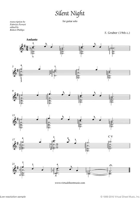 Silent night sheet music in several levels for your piano students. Free Silent Night sheet music for guitar solo - High Quality