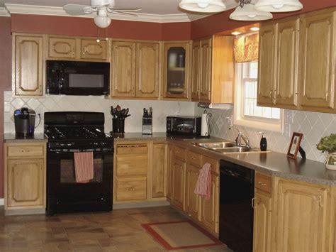 Kitchen Ideas With Oak Cabinets by Kitchen Color Ideas With Oak Cabinets And Black Appliances