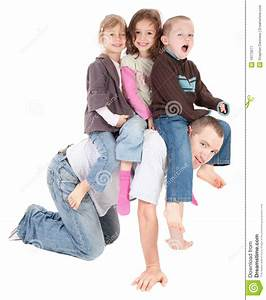 Happy Kids Playing Riding On Back Of Dad Stock Image ...