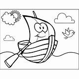 Rowboat Happy Coloring Printable sketch template