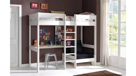 loft bunk bed with lit mezzanine avec bureau et fauteuil en pin massif