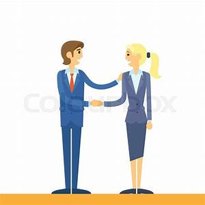 Business people handshake, businessman and businesswoman ...
