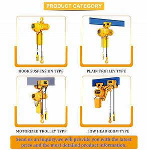 Construction Lifting Equipment 1 Ton Electric Chain Hoist With Hook