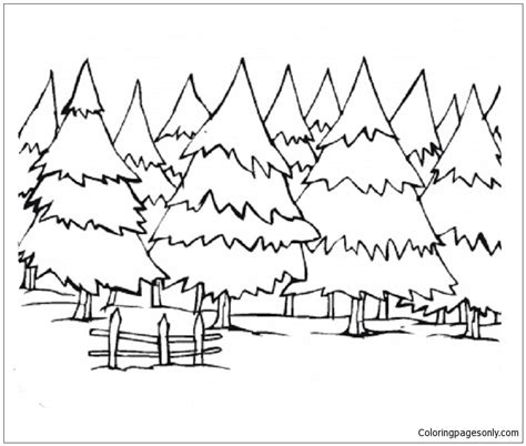 winter landscapes coloring page  coloring pages