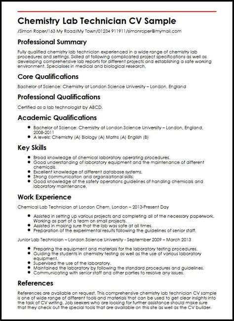 Chemistry Resume Template by Chemistry Lab Technician Cv Sle Myperfectcv