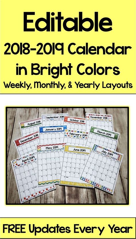 editable calendar bright colors secondary math resources