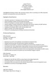 office specialist resume sles resume sles sle office specialist resume