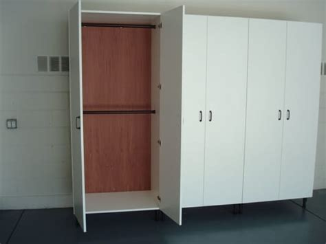 white melamine garage cabinets with cedar backing for