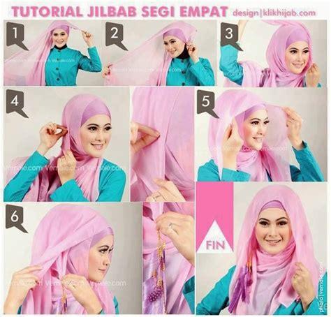 foto gambar tutorial hijab segi empat simpel gaya   terbaru