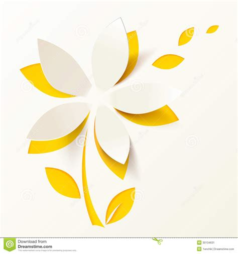yellow paper flower vector greeting card template stock