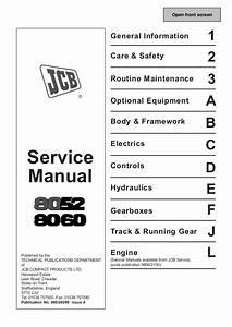 Jcb 8052 Midi Excavator Service Repair Manual Sn802000 803999
